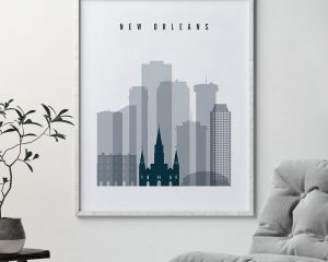 New Orleans skyline poster grey blue second