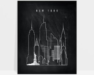 New York chalkboard black white skyline print
