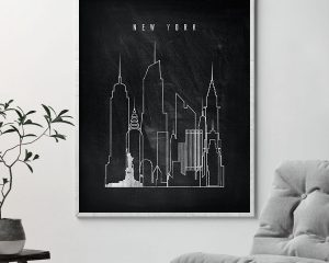 New York chalkboard black white skyline print second