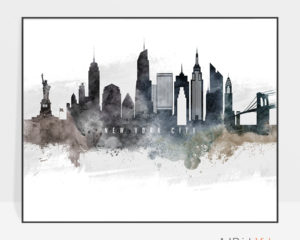 New York City art poster watercolor