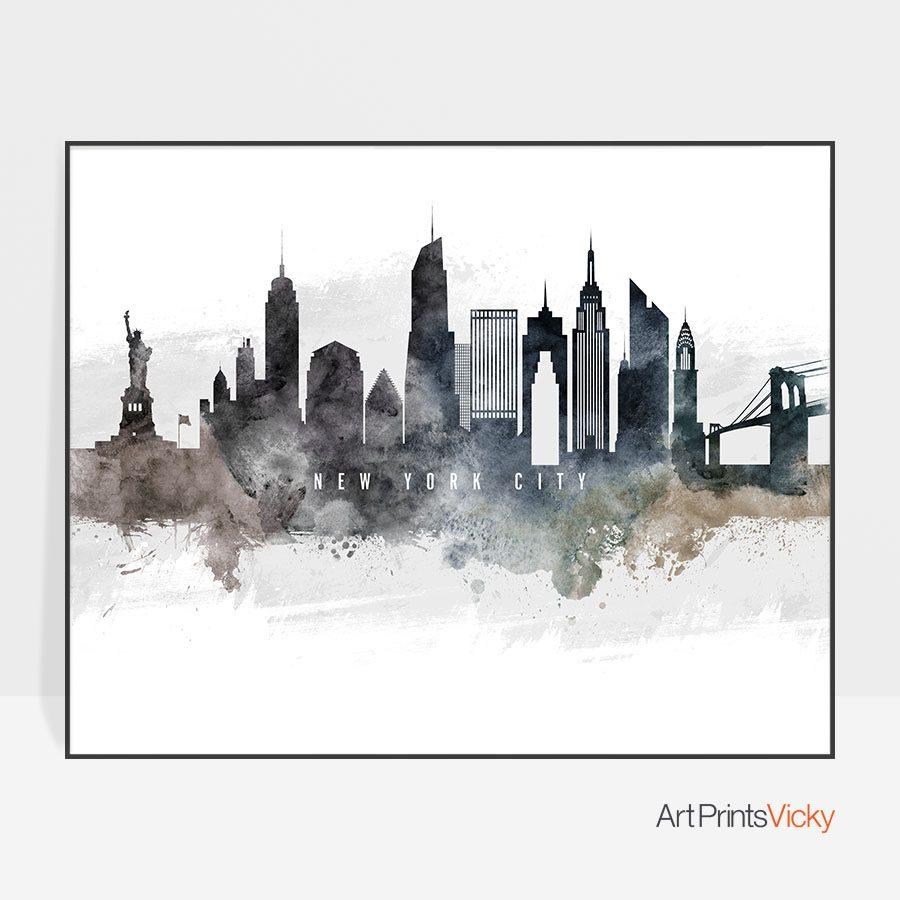 New York City art poster watercolor