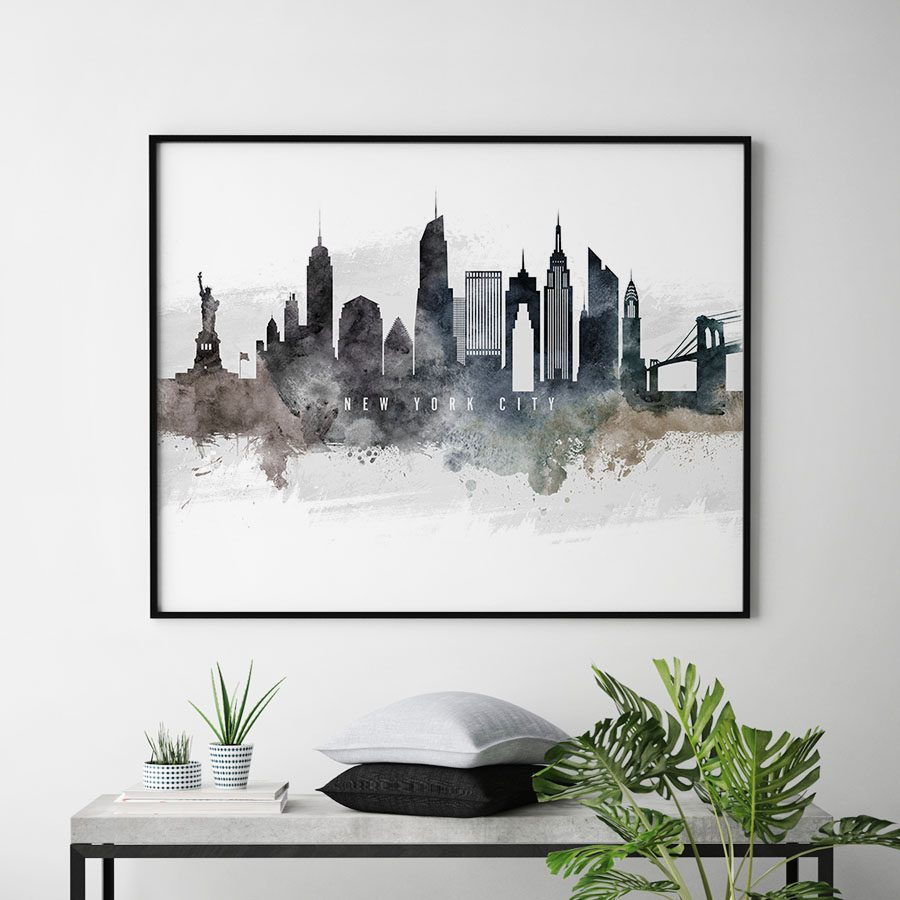 New York City art poster watercolor second
