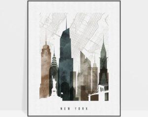New York City map print poster watercolor 2