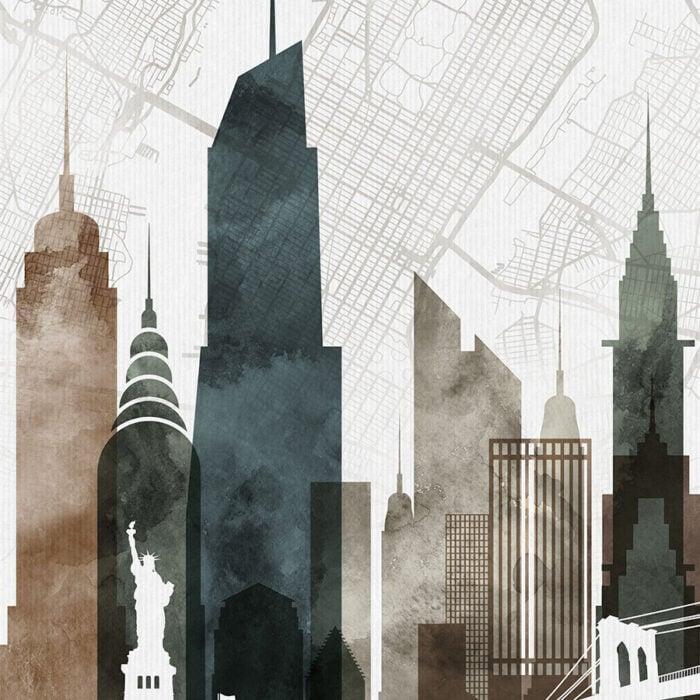 New York City map print poster watercolor 2 detail