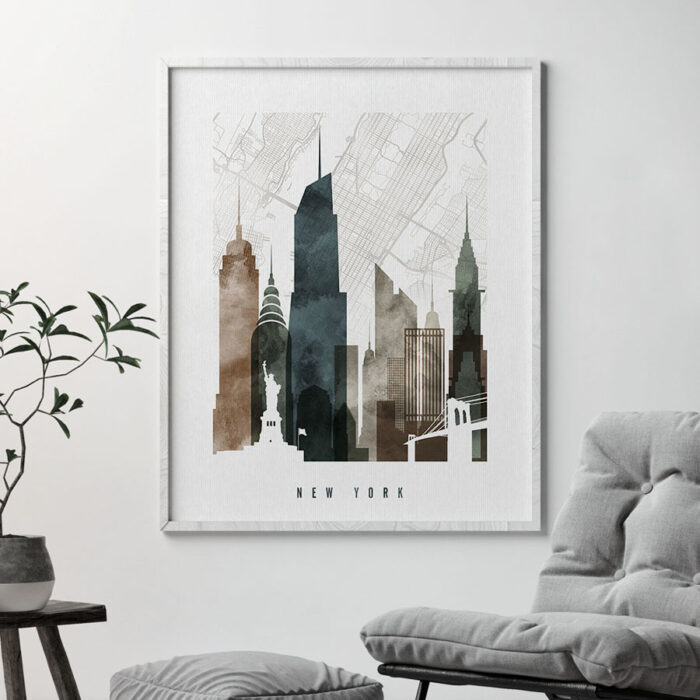 New York City map print poster watercolor 2 second