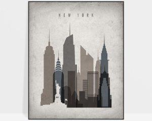 New York skyline wall art retro