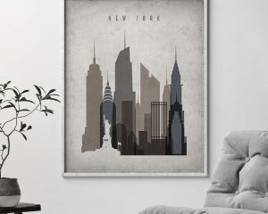 New York skyline wall art retro second