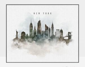 New York cityscape print watercolor