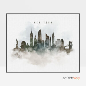 New York cityscape print watercolor