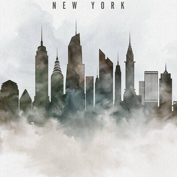 New York cityscape print watercolor detail