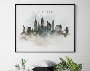 New York cityscape print watercolor second