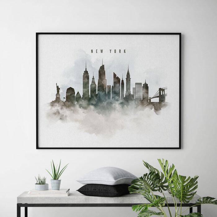 New York cityscape print watercolor second