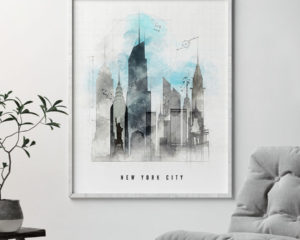 New York City skyline art print urban second