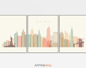 New York skyline set of 3 prints pastel cream