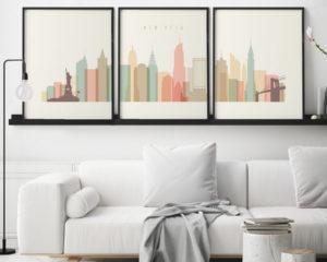 New York skyline set of 3 prints pastel cream second