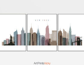 New York City skyline set of 3 prints distressed 1
