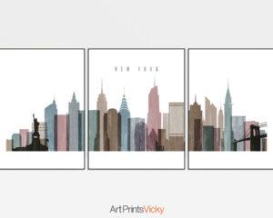 New York City skyline set of 3 prints distressed 1