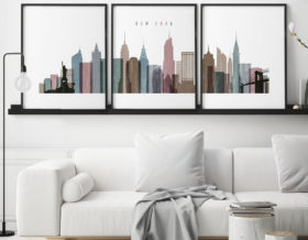 New York City skyline set of 3 prints distressed 1 second