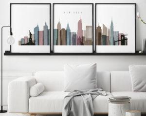 New York City skyline set of 3 prints distressed 1 second