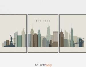 New York wall art set of 3 prints earth tones 1
