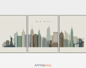 New York wall art set of 3 prints earth tones 1