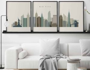 New York wall art set of 3 prints earth tones 1 second