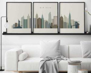 New York wall art set of 3 prints earth tones 1 second