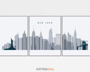 New York triptych wall art grey blue