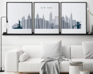New York triptych wall art grey blue second