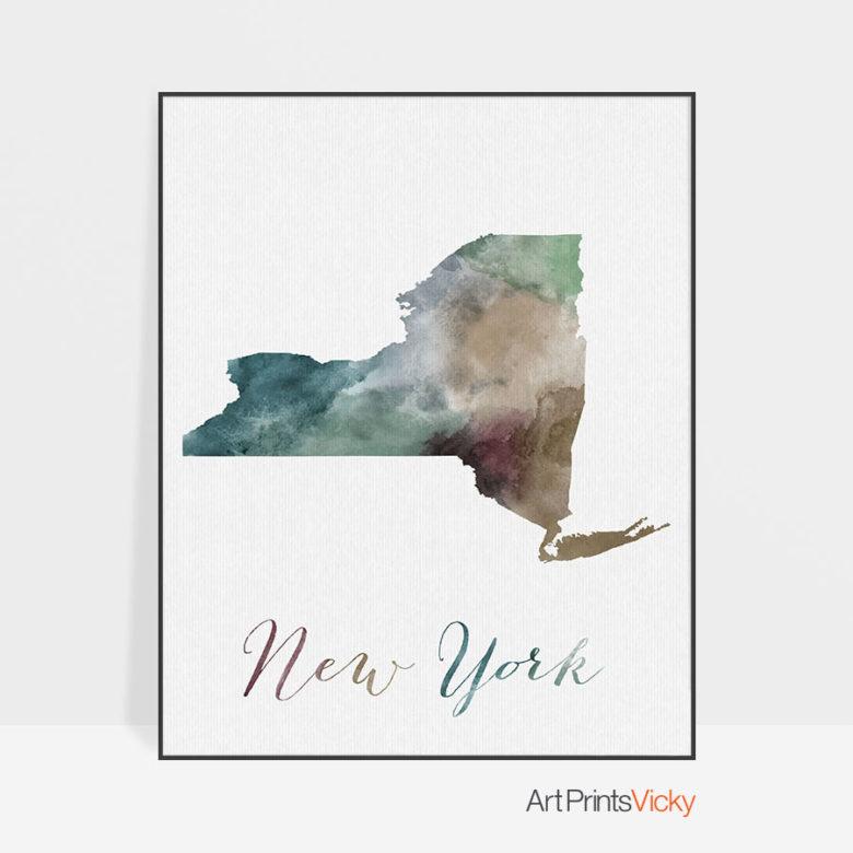 New York State map print