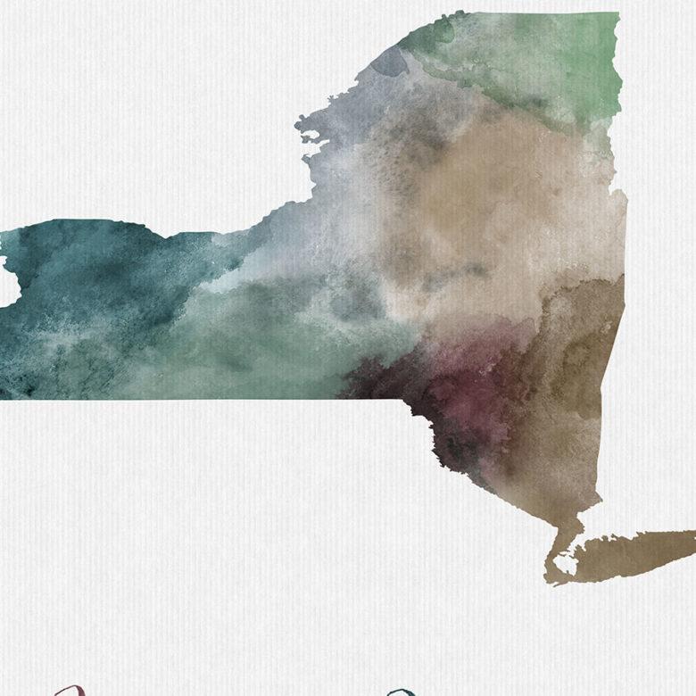 New York State map print detail