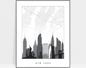 New York map print skyline black and white
