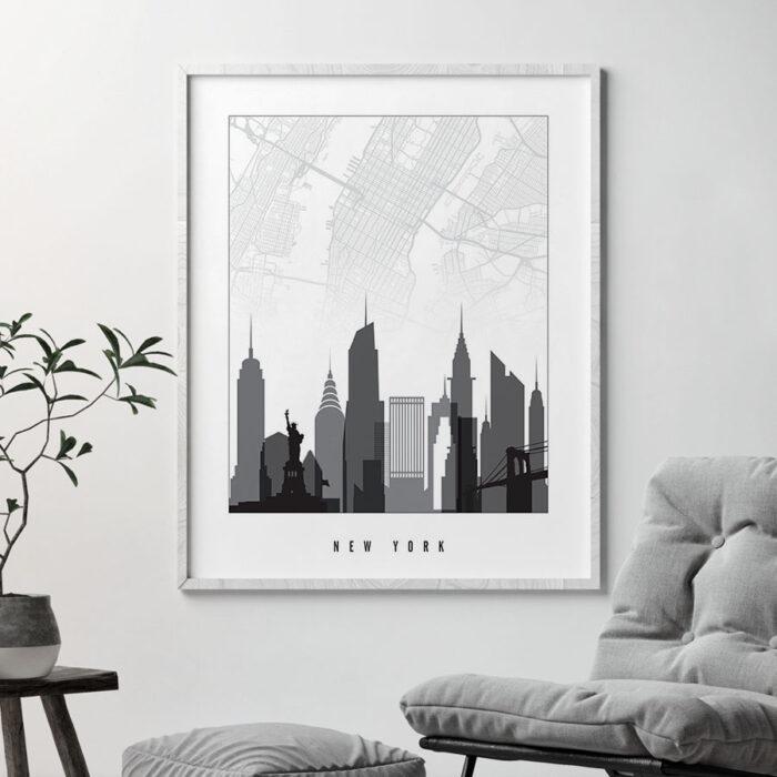 New York map print skyline black and white second