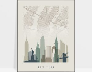 New York map print poster earth tones 1