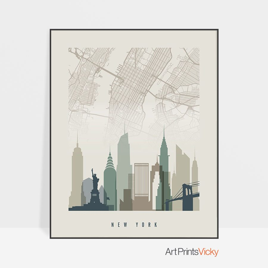 New York map print poster earth tones 1