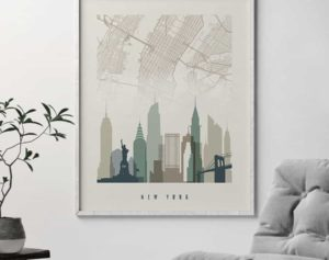 New York map print poster earth tones 1 second