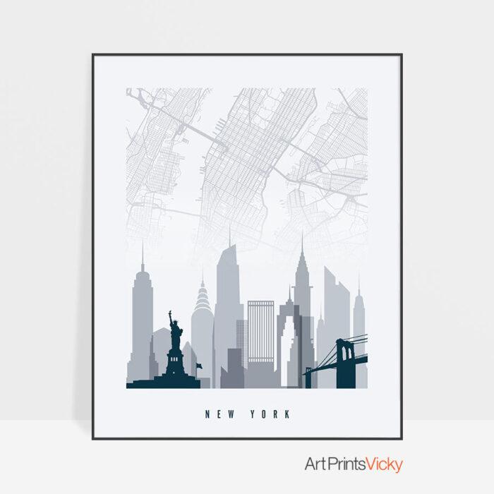 New York City map poster skyline grey blue