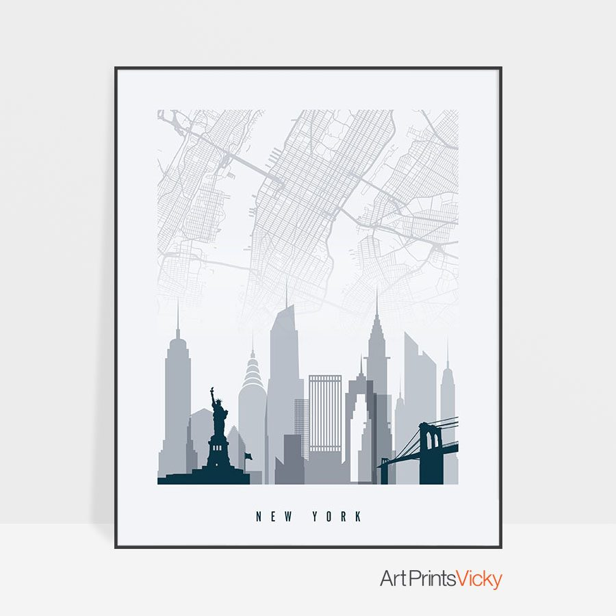 New York City map poster skyline grey blue