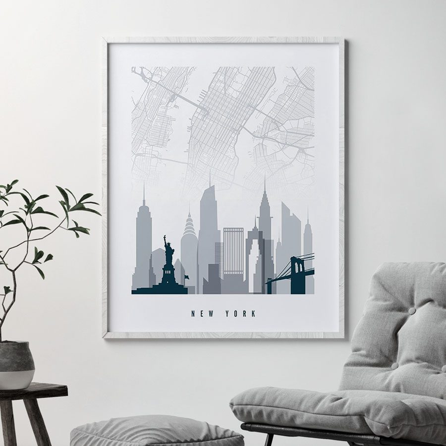 New York City map poster skyline grey blue second