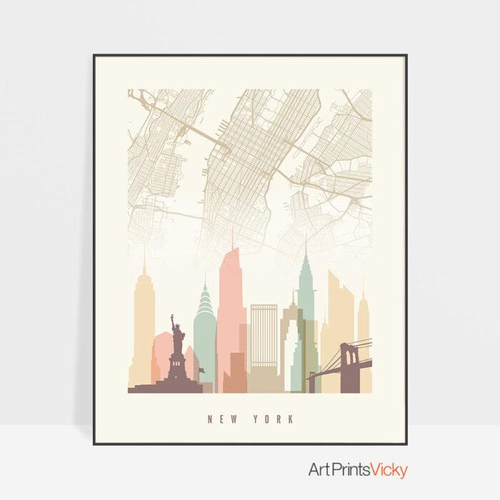 New York map skyline print pastel cream