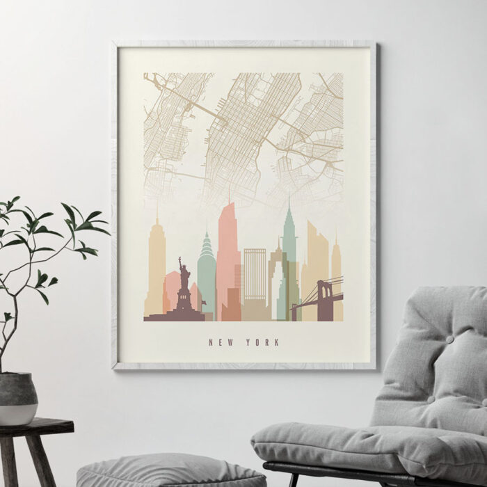 New York map skyline print pastel cream second
