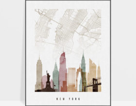 New York map print skyline watercolor 1