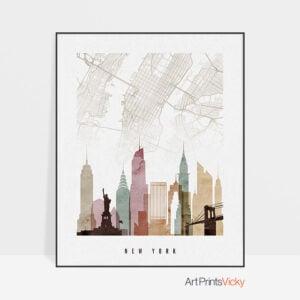 New York map print skyline watercolor 1