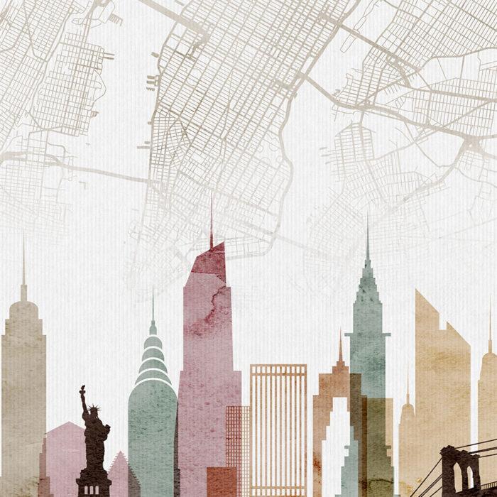 New York map print skyline watercolor 1 detai