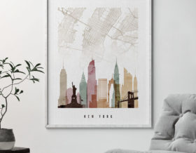 New York map print skyline watercolor 1 second