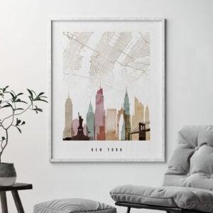 New York map print skyline watercolor 1 second