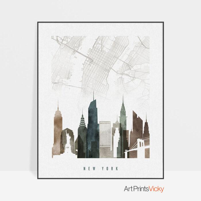 New York map art skyline print watercolor 2
