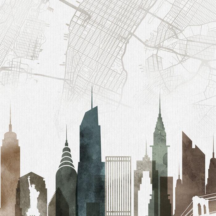 New York map art skyline print watercolor 2 detail