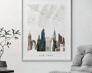 New York map art skyline print watercolor 2 second