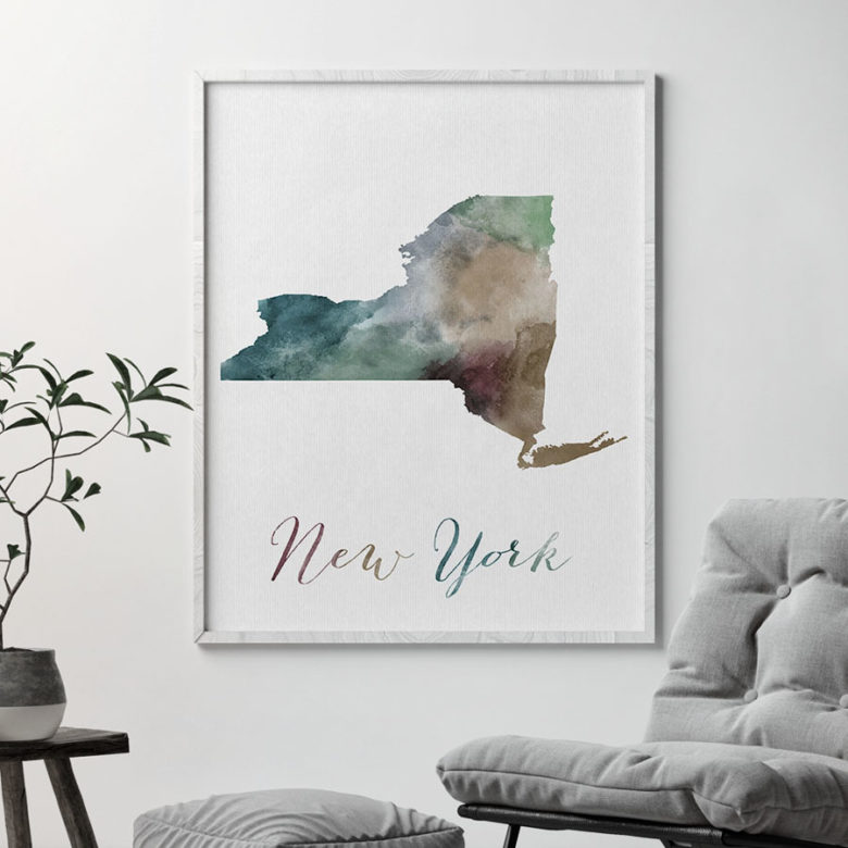 New York State map print second